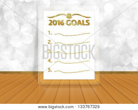 2016 goals word on white bokeh background