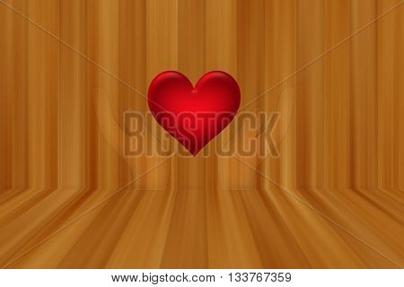 holding red heart on wooden style wall