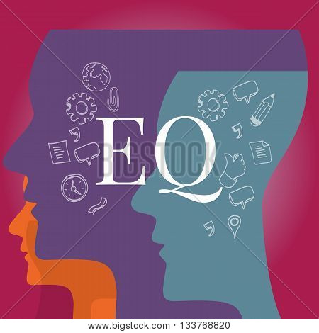 EQ emotional quotient intelligence vector illustration test concept