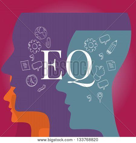 EQ emotional quotient intelligence vector illustration test concept