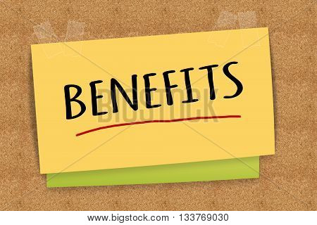 """""""Benefits"""" on sticky note for business concept"""
