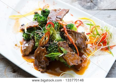 Chinese spicy fried meat with herbs and vegetables