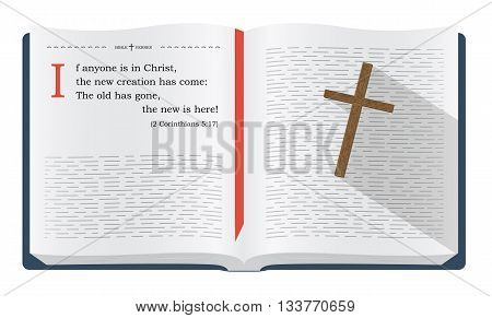 Best Bible verses to remember - 1 John 1:9 about how we become new creation in Jesus Christ. Holy scripture inspirational sayings for Bible studies and Christian websites illustration isolated over white background