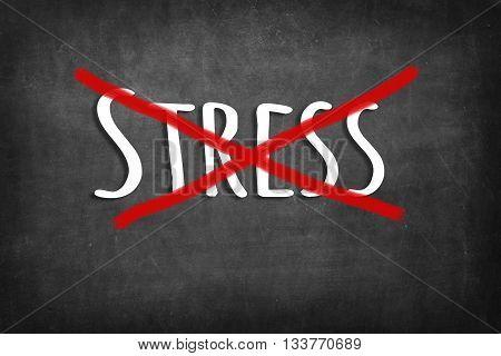 (Don't) STRESS chalk word on black blackboard background
