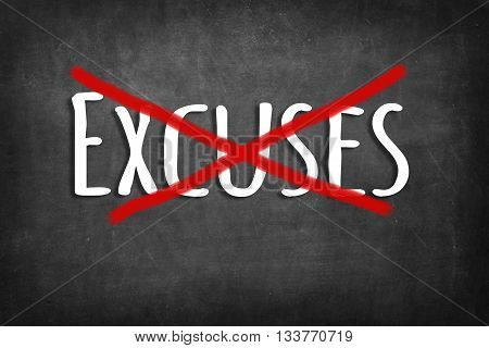 (NO) Excuses chalk word on black blackboard background