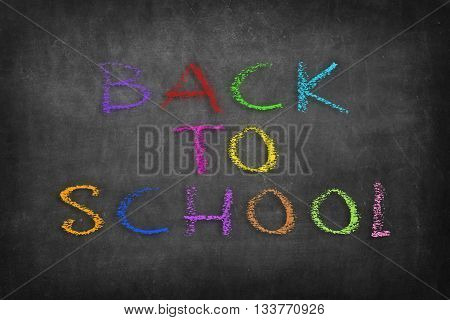 back to school colorful word on black blackboard background