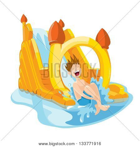 Vector illustration of inflatable water hills on playground. The cheerful boy rides on water hills. Picture isolate on white background