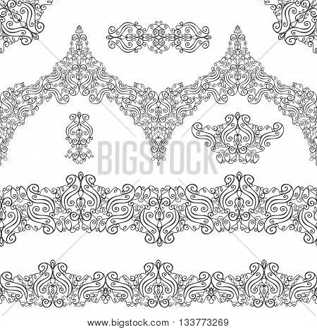 Ethnic seamless pattern borders background, elements set.Vintage decorative vector ornament.East, Islam, Arabic, Indian, motifs and revival swirling.Abstract Tribal texture.Orient, symmetry lace, fabric and corners