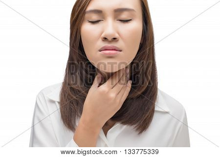 Sore throat woman on white background, Sore throat woman