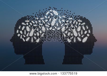 Beetles in human head. Exchange of opinions concept. Vector illustration.