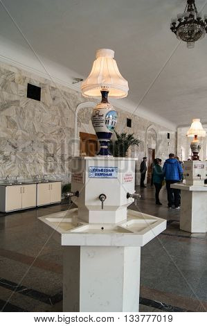 Pyatigorsk, Russia - 1 March, Standpipes Narzan Gallery, 1 March, 2016. Resort zone Mineral Waters, Krasnodar region. Interior Narzan gallery in mineral waters.