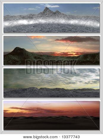 four different fantasy landscapes for banner background or illustration