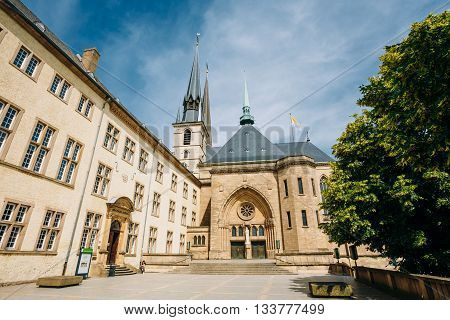 Notre-dame Cathedral, Luxembourg Is The Roman Catholic Cathedral. Grand Duchy Of Luxembourg. It Was Originally A Jesuit Church, And Its Cornerstone Was Laid In 1613.