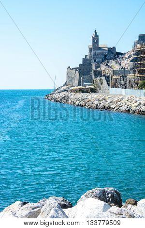 view of italian sea at Portovenere tip