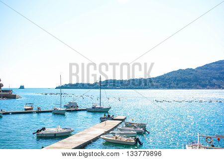 view of italian sea at palmaria from portovenere