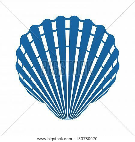 Scallop seashell of mollusks icon sign isolated vector illustration