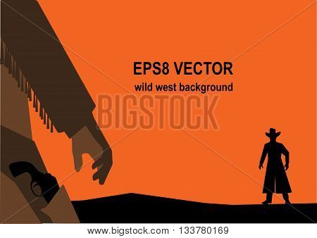 Hand drawn wild west background. Cowboys hand with a revolver. Duel illustration
