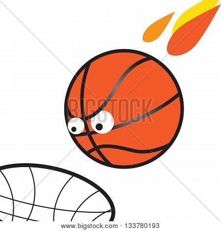 March madness fun illustration evil ball flies into the basket.