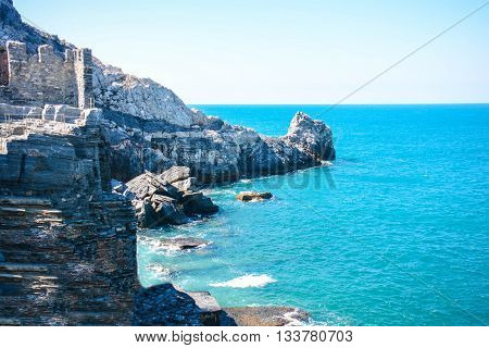 rare view of byron cliff in italy portovenere