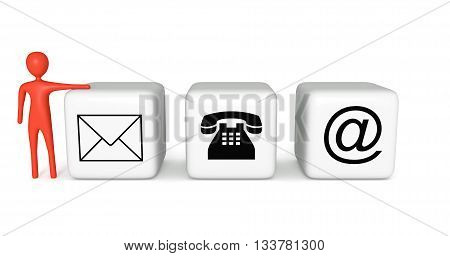 Contact us: white cubes with a red 3d man on a white background 3d illustration