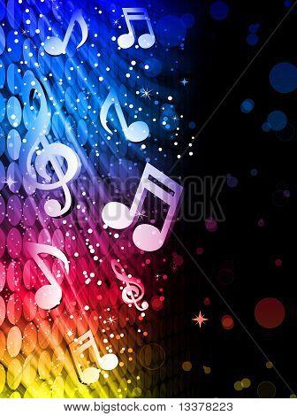 Partito onde astratte colorate su sfondo nero con note musicali