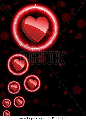 Vector - Red Heart Border with Sparkles and Swirls. poster