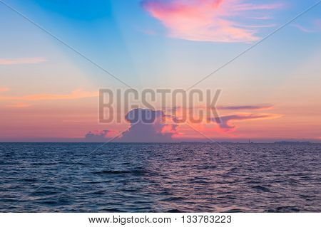 Beautiful sky and clouds over seacoast after sunset, natural landscape background