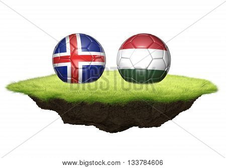 Iceland and Hungary team balls for football championship tournament, 3D rendering