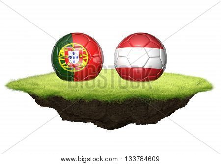 Portugal and Austria team balls for football championship tournament, 3D rendering