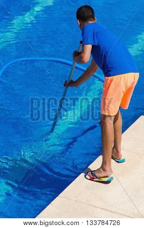 Backview Of A Swimming Pool Cleaner