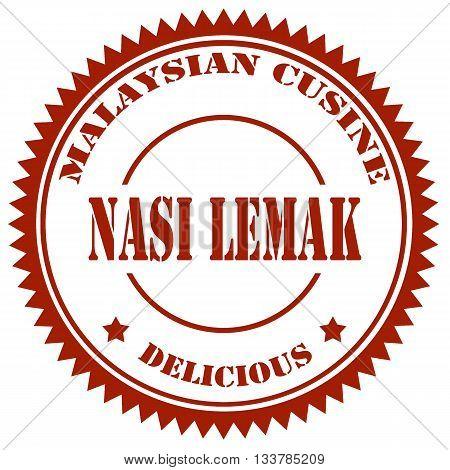 Stamp with text Nasi Lemak(Malaysian Food),vector illustration