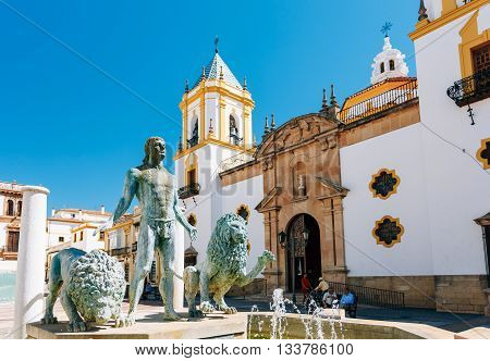 Plaza Del Socorro Church In Ronda, Spain. Old Town Cityscape