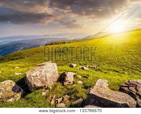 Boulders On The Carpathian Hillside At Sunset