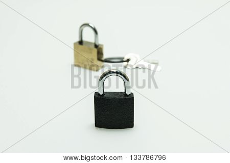 black padlock(combination lock bicycle lock) locked isolated white