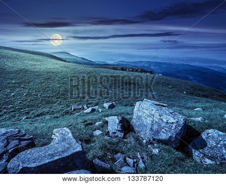 Boulders On The Carpathian Hillside At Night
