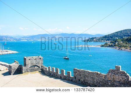 rare view of palmaria island at portovenere italy