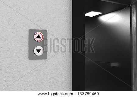 3D rendering of lift and panel going up