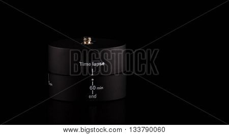 Time laps device for rotation 360 degree isolated on black background