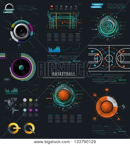 Infographic Music Elements with Vinyl and Speaker. infographics items from the map of America. infographics element with sports basketball Ball. Vector EPS 10 file. Transparency used.