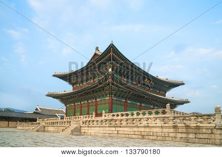 The building in Gyeongbokgung Palace, Seoul, South Korea