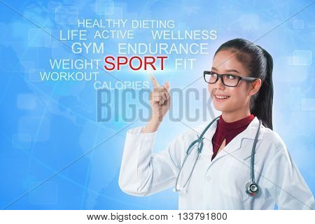 Doctor hand touching SPORT word on screen with blue background. medical concept