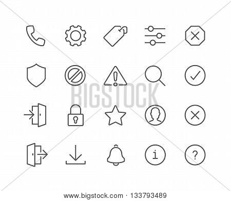 Simple Set of Interface Related Vector Line Icons. Contains such Icons as Settings, Log in, Log out, Search, Notification and more. Editable Stroke. 48x48 Pixel Perfect.