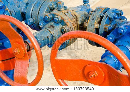 Wellhead with valves. Oil and gas concept.