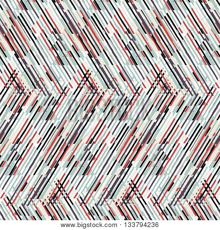 Vector geometric seamless pattern with line and zigzags in black, grey, red colors. Striped modern bold print in 1980s retro style for summer spring fashion Abstract techno chevron background