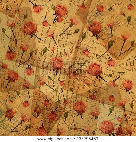 vintage paper with flowers - background for scrapbooking