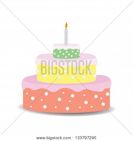 Birthday cake with candle on white background