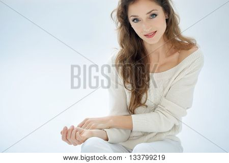 Casual Woman In White Pullover