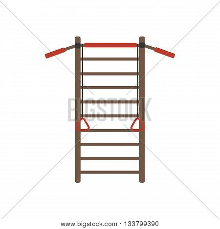 Gymnastics wall bars ladder with horizontal bar. Swedish staircase sports gymnastics ladder gymnastics wall gym tool. Sports ladder trainer wall exercises gymnastics ladder and wall bars vector.