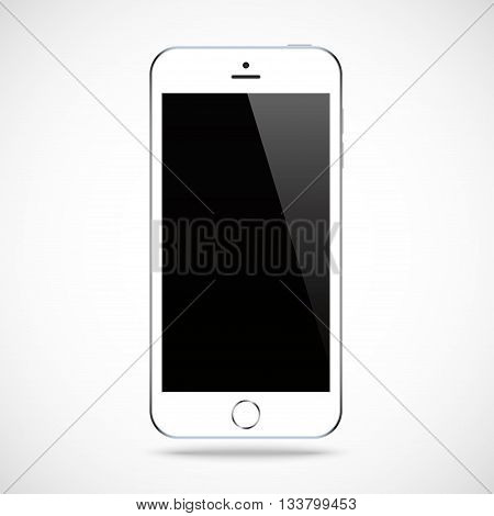 smartphone white color with blank touch screen isolated on the grey background. stock vector illustration eps10