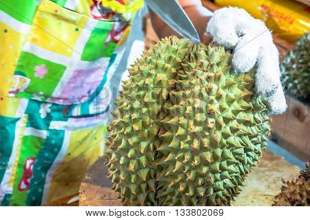 Durian fruit Paring durian Peeled fruit Peeled durian King of fruits Southeast Asia as the